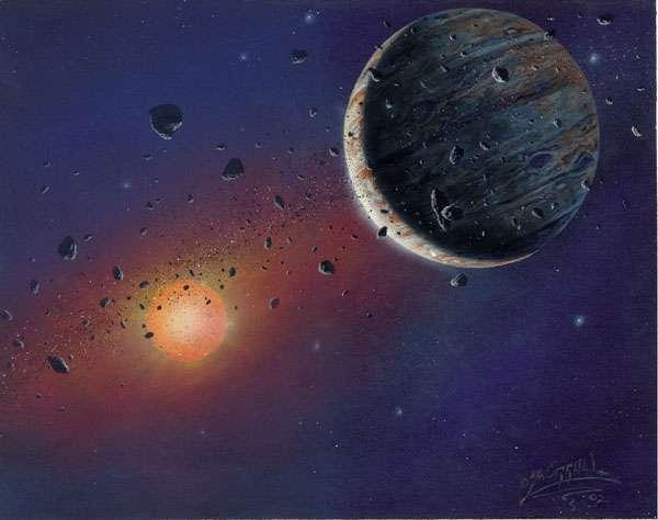 Image d'artiste de planète peut-être en formation autour de KH 15D. Crédit : Michael Carroll