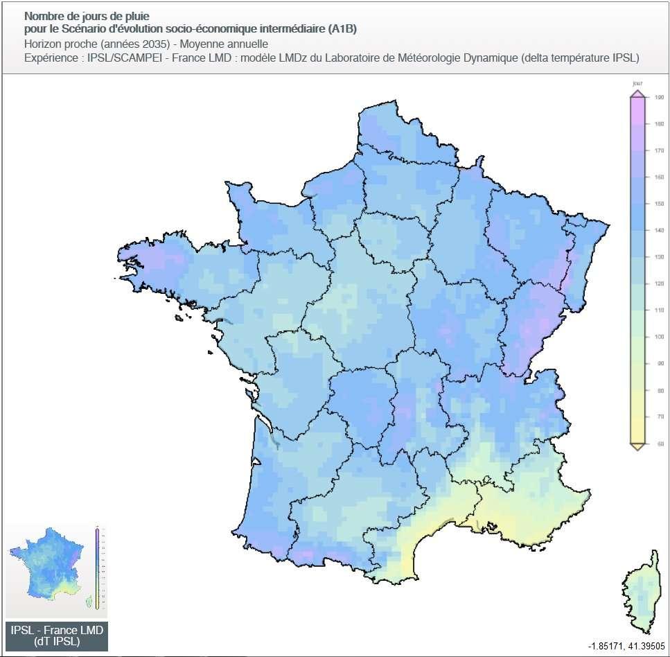 Estimation du nombre de jours de pluie en 2035, avec le dessin des régions, selon le modèle IPSL et un scénario intermédiaire (ni pessimiste ni optimiste). Le code couleur indique une tranche de 10 jours : 60 à 70 jours pour le jaune et 180 à 190 pour le rose vif, par exemple. © Drias