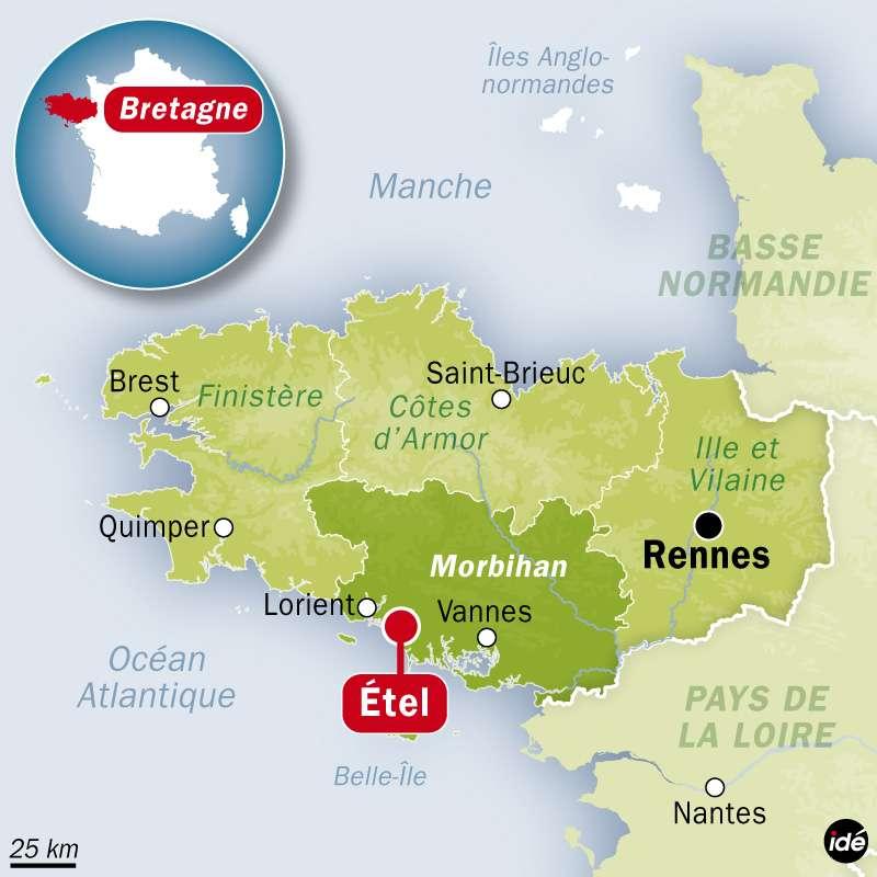 Le TK Bremen, cargo battant pavillon maltais, s'est échoué sur les côtes du Morbihan. © Idé