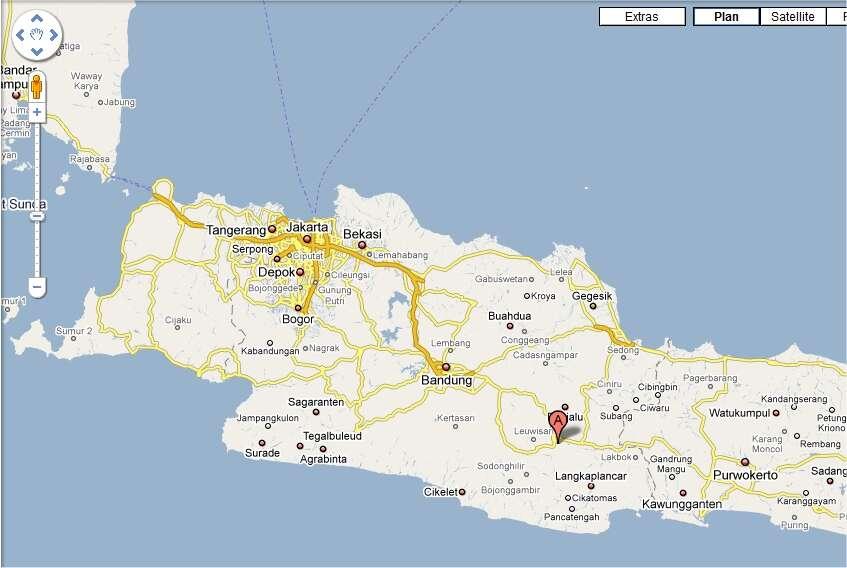 Tasikmalaya, à l'ouest de l'île de Java, représentée ici sur Google Maps.