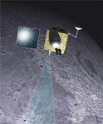 Vue d'artiste de la sonde indienne Chandrayaan-1 au cours de sa mission de cartographie de la surface lunaire. © ISRO
