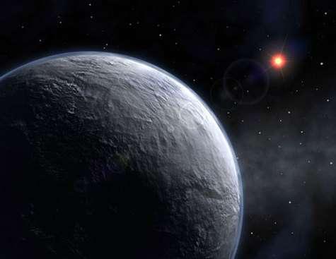 Vue d'artiste de l'exoplanète tellurique découverte autour d'une naine rougeCrédit ESO