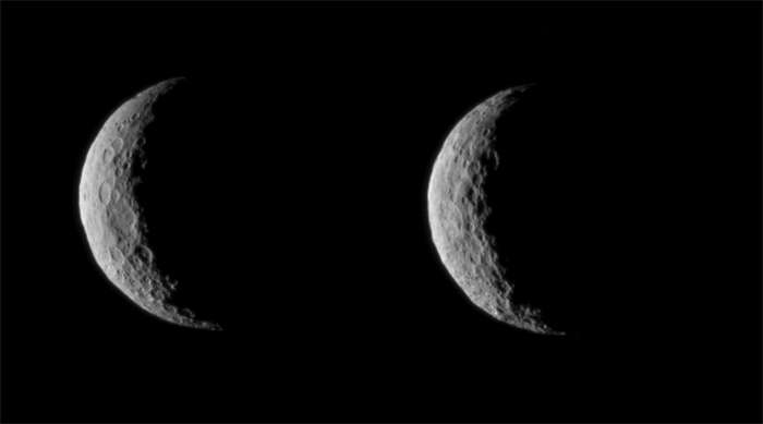 Images prises le 1er mars 2015 à quelque 49.000 km de Cérès. La sonde spatiale Dawn est actuellement en train de manœuvrer du côté de la planète naine opposée au Soleil et devrait fournir de nouvelles images à partir du 10 et 14 avril. © Nasa, JPL-Caltech, Ucla, MPS, DLR, Ida