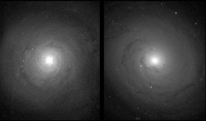Sur ces images prises avec Hubble, on voit à gauche une galaxie de Seyfert de type 1, NGC 5548. Sur la droite, la galaxie NGC 3277 est une spirale classique, dont on remarque le noyau moins brillant. © Nasa