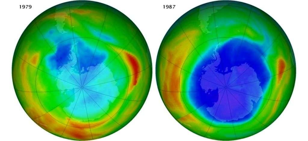 En 1979, le trou de la couche d'ozone au-dessus de l'Antarctique n'existait pas encore vraiment. Mais en 1987, plus personne ne pouvait nier sa présence, comme le montrent ces images satellitaires en fausses couleurs. Le violet et le bleu indiquent les zones où la teneur en ozone stratosphérique est la plus faible, le jaune et le rouge là où elle est la plus élevée. © Nasa