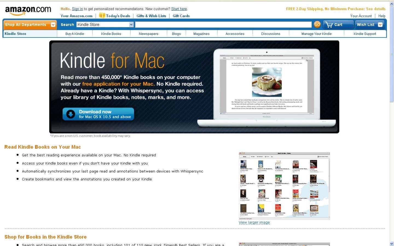 Le Kindle pour Mac : un logiciel à télécharger pour aller ensuite acheter dans la boutique d'Amazon. © DR