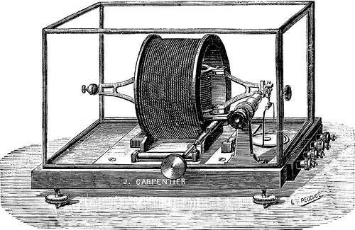 Cet appareil (Ampère-étalon) permet de mesurer le courant électrique, donc le déplacement de charges. Il a été inventé parmi d'autres appareils par M. Pellat. © Zigazou76, CC BY 2.0, Flickr