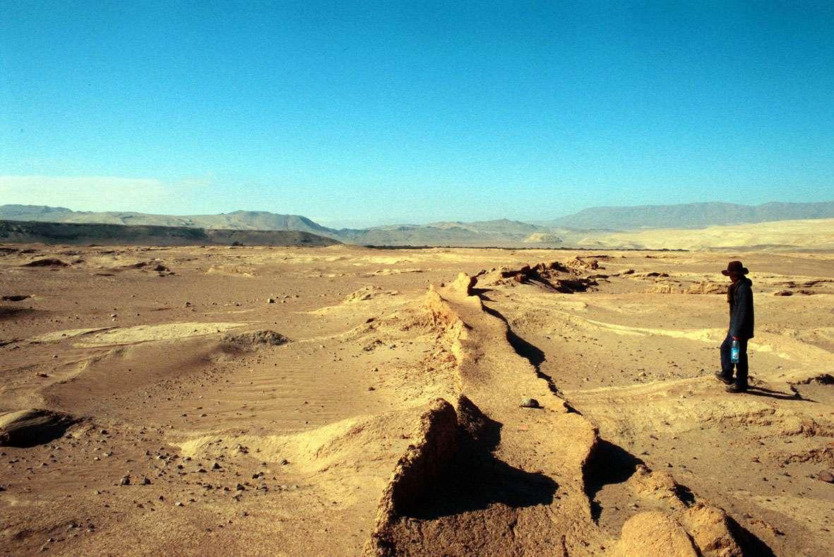 Les restes d'un canal d'irrigation construit par les Nazcas dans une région aujourd'hui désertique. © David Beresford-Jones