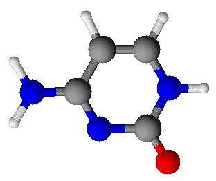 La cytosine est une molécule hétérocyclique. © Sergeswi, Wikimedia, domaine public