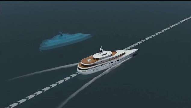 L'avatar bleu symbolise la fausse trajectoire envoyée au système GPS du navire par le système de piratage. Constatant une dérive par rapport à la route originale, le capitaine opère une manœuvre, croyant remettre le bateau sur la bonne trajectoire, alors qu'il est en réalité en train de le dérouter. © Université du Texas, Cockrell School of Engineering