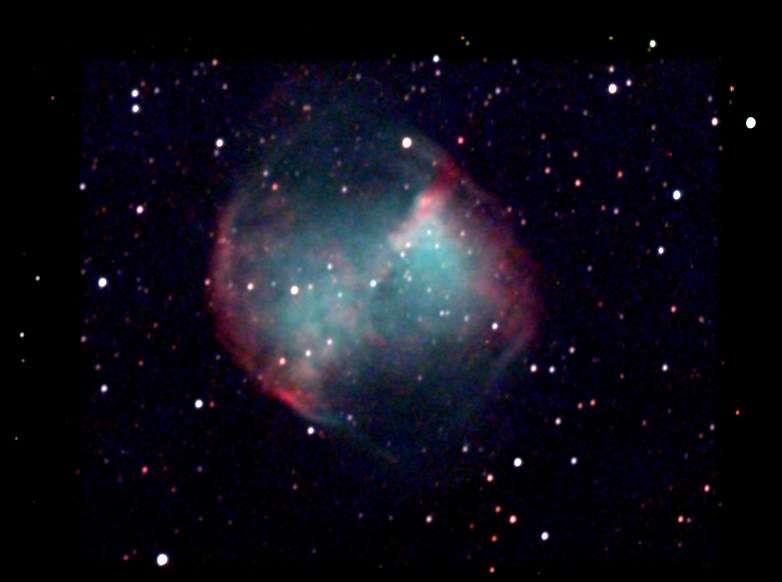 La voici saisie en 35 min de pose avec une caméra CCD derrière un télescope de 15 cm, image Chamois.