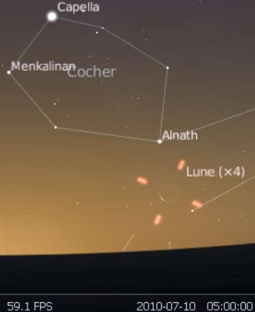 Observez le très fin croissant lunaire en rapprochement avec l'étoile Alnath