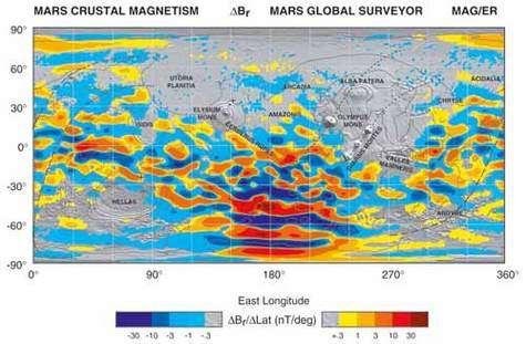 Carte du champ magnétique crustale de Mars établie avec un magnétomètre.