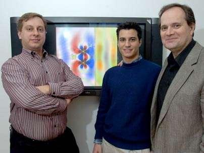De gauche à droite, Marin Soljačić, Aristeidis Karalis et John Joannopoulos posent devant un écran montrant leur simulation du champ magnétique. Crédit : MIT / D.Coveney