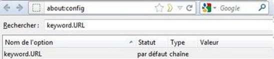 Pour bien redéfinir Google comme moteur de recherche dans la barre d'adresses, le statut de cette ligne doit être sur « Par défaut ». C'est le signe pour Firefox qu'il doit utiliser le réglage intégré et non une valeur personnalisée. © Guénaël Pépin