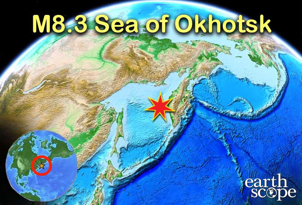 Le 24 mai 2013 a eu lieu le plus grand séisme profond jamais mesuré, avec un épicentre représenté ici par une étoile rouge et un hypocentre repéré à près de 620 km sous la mer d'Okhotsk. On comprend bien les mécanismes à l'origine des séismes superficiels, ceux que l'on ressent parfois fortement en surface. En revanche, on s'interroge sur les causes des séismes profonds, comme celui-ci. Les clés de cette énigme sont à chercher parmi les caractéristiques des roches soumises à des pressions et des températures élevées. © earthscope.org