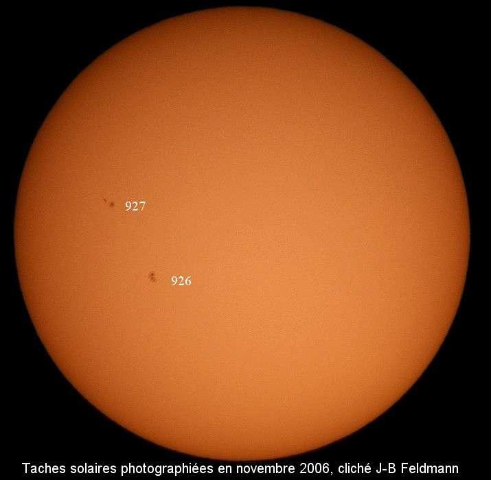Taches solaires observées en novembre 2006. © Jean-Baptiste Feldmann