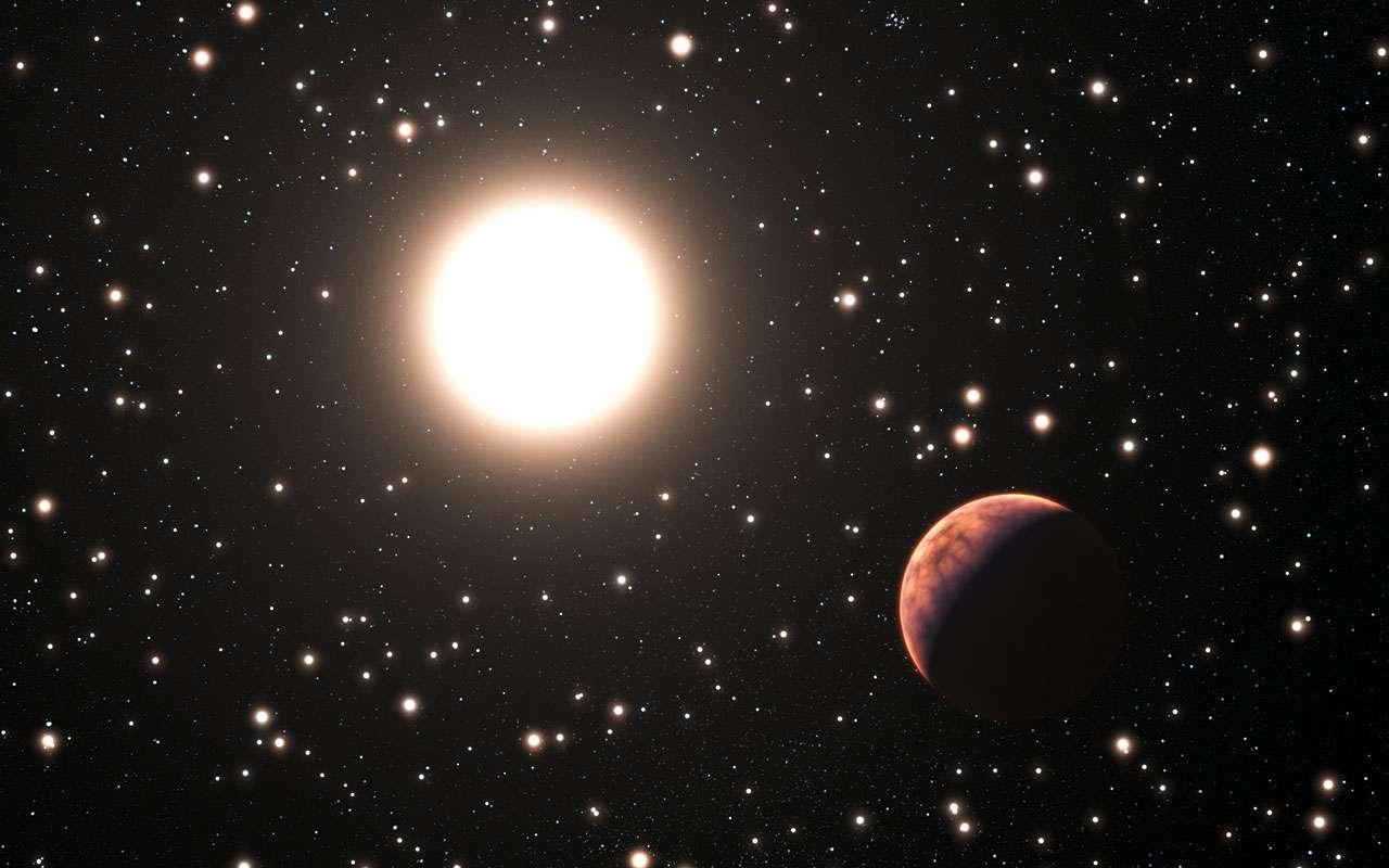 L'une des trois exoplanètes découvertes autour d'une étoile qui appartient à l'amas ouvert Messier 67. Les étoiles de cet amas sont toutes d'âge et de composition proches de ceux du Soleil. © ESO, L. Calçada
