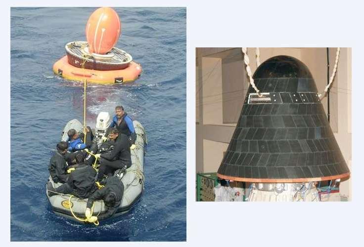 Malgré quelques étapes franchies avec brio, comme, sur cette image, la récupération d'une capsule de retour d'orbite, les deux échecs de 2010 ont plombé le programme des vols habités de l'Isro avec comme principale conséquence un report dans le temps de la feuille de route. © Isro