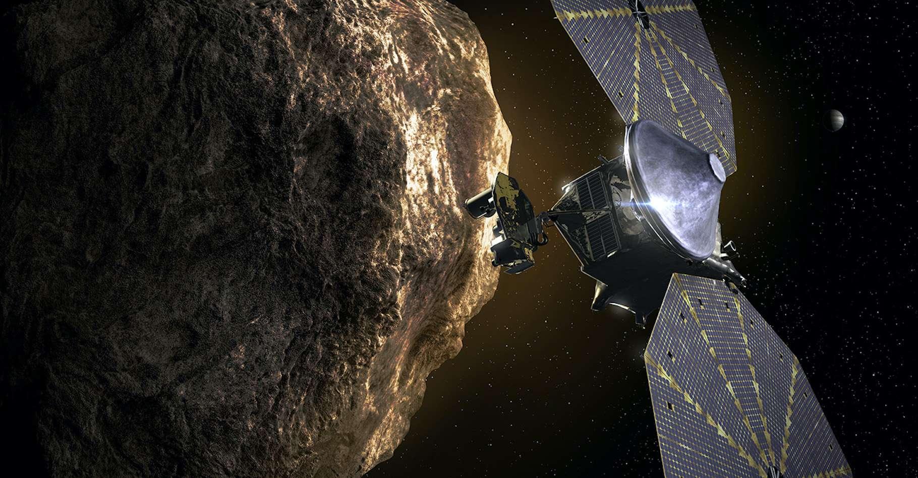 Illustration de Lucy visitant l'astéroïde troyen Eurybates. © Nasa, SwRI