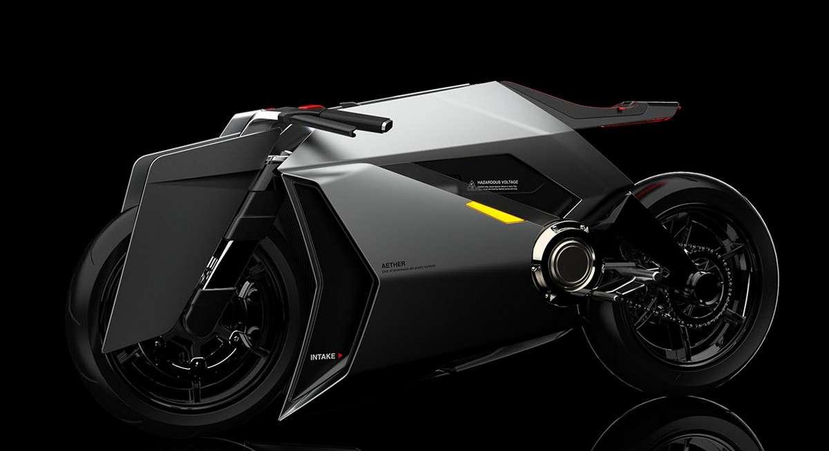 La moto électrique Aether cache deux filtres à air en céramique dans ses énormes prises d'air latérales. © Lin Yu Cheng