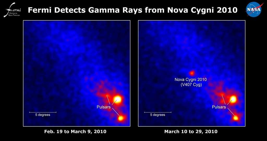 Le Large Area Telescope de Fermi ne montre aucun signe d'une nova pour V407 Cyg 19 jours avant le 10 mars 2010 (à gauche), mais l'éruption est évidente par la suite (à droite). Les images montrent le taux de rayons gamma dont les photons ont des énergies supérieures à 100 millions d'électron-volts (100 MeV); les couleurs vives indiquent les taux les plus élevés. Crédit : Nasa / DOE / Collaboration LAT Fermi