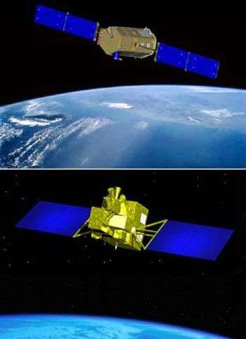De haut en bas, les satellites Américain OCO et japonais GOSAT. Crédit ESA.