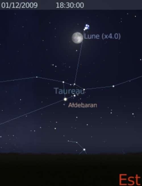 La Lune est en rapprochement avec l'amas des Pléiades