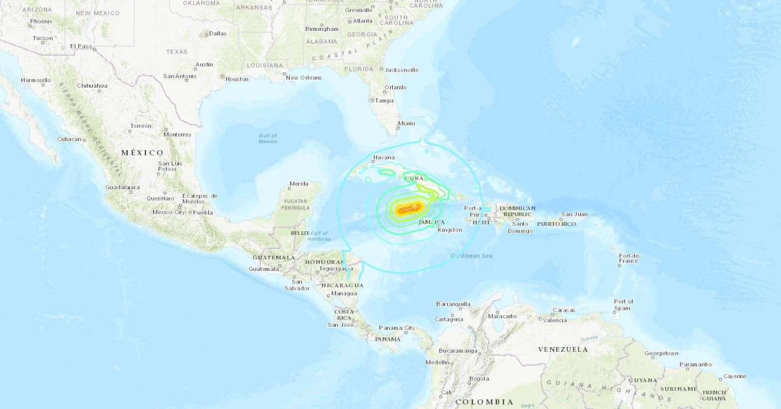 L'épicentre du séisme se trouve dans la Mer des Caraïbes, entre la Jamaïque et Cuba. © US Geological Survey