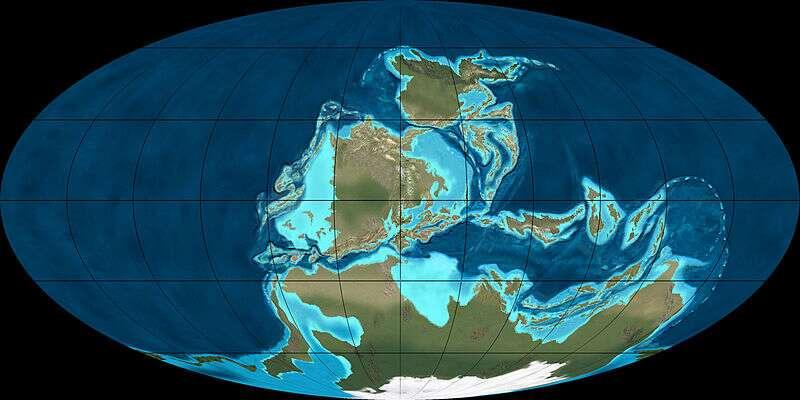 Il existait deux océans principaux durant le Carbonifère : Panthalassa et Paléotéthys, ce dernier étant situé dans le C créé par les masses continentales. © Ron Blakey, NAU Geology, Wikimedia Commons, cc by sa 3.0