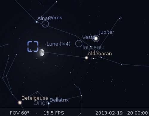 La Lune en rapprochement avec Cérès, Elnath et la nébuleuse du Crabe