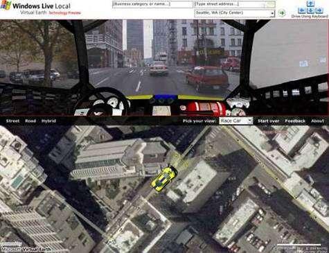La nouvelle extension de Virtual Earth vous propose d'arpenter les rues de votre ville préférée !(Crédits : MSN/Virtual Earth)