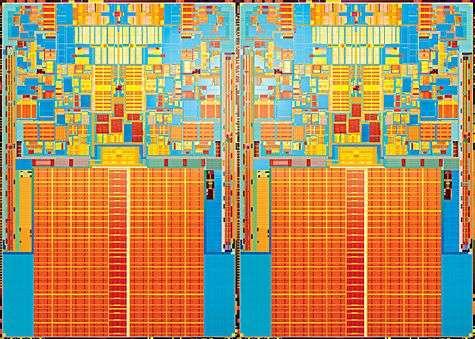 Puce du Core 2 Quad d'Intel (quatre coeurs). Crédit Intel.