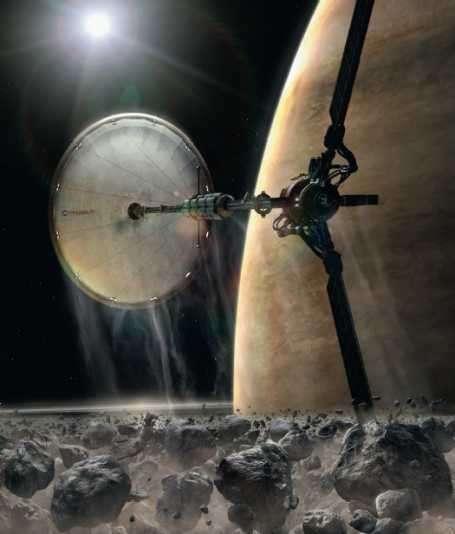 Le vaisseau Pégase en orbite autour de Saturne. Crédit : Impossible Pictures production, BBC, Discovery Channel, ProSieben
