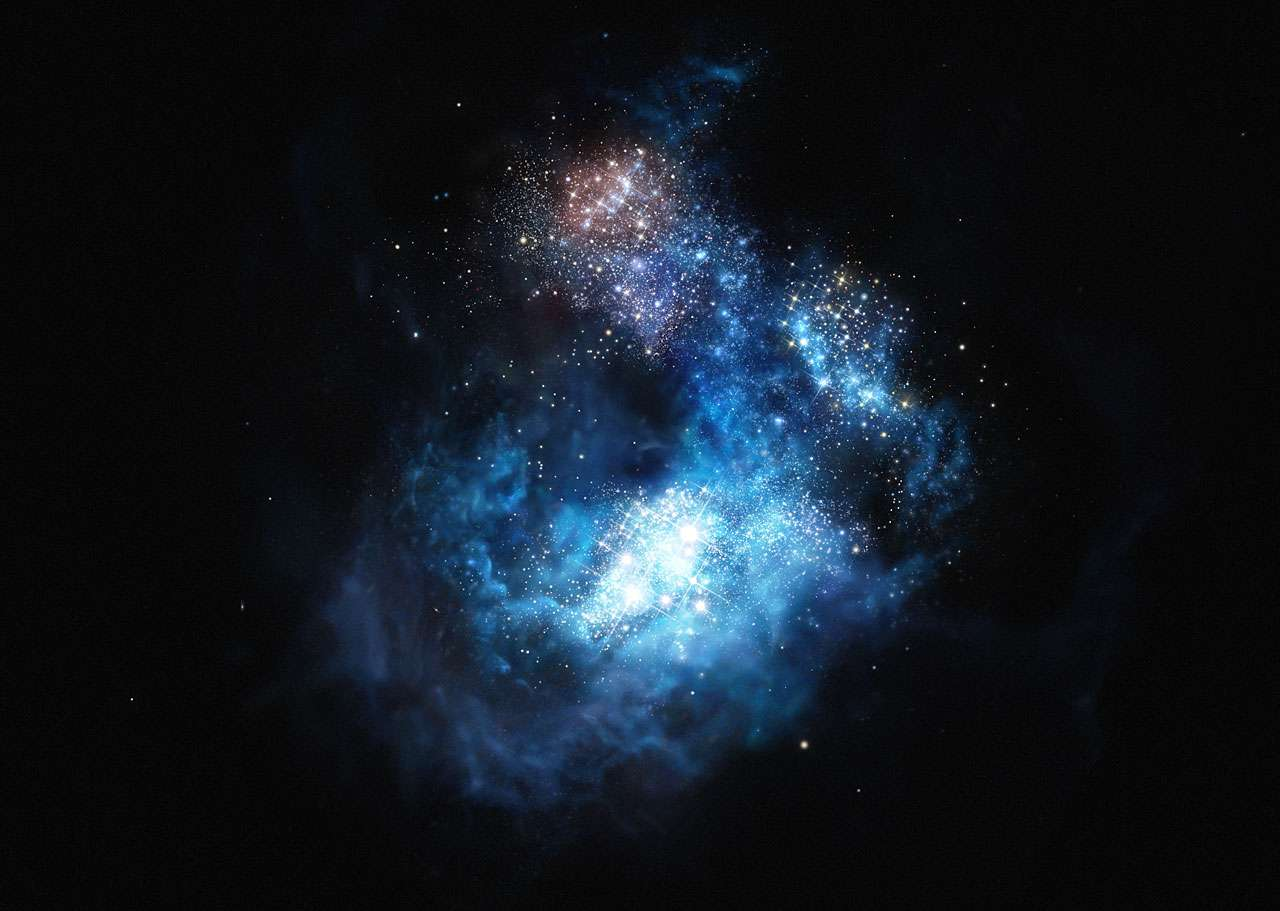 Illustration de CR7 (Cosmos Redshift 7), une galaxie très lumineuse de l'univers jeune qui vient d'être découverte avec le VLT. Elle est trois fois plus brillante que la galaxie lointaine la plus lumineuse connue à ce jour. Des preuves solides attestent de l'existence en son sein de plusieurs étoiles de première génération. © Eso, M. Kornmesser