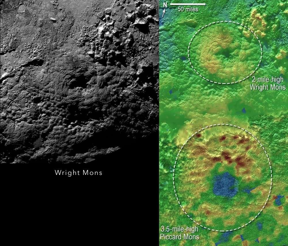 À gauche : le mont Wright (environ 160 km de large et 4 km d'altitude), au sud de la plaine Spoutnik. Cette structure pourrait être un volcan de glace comme le suggèrent le large trou à son sommet (environ 56 km !), ses pentes et des fissures concentriques sur l'un de ses flancs. À droite : les couleurs révèlent les reliefs de la région des monts Wright et Piccard, tous deux soupçonnés d'être des cryovolcans. Le vert indique les altitudes intermédiaires, le rouge-brun, les plus élevées et le bleu, les plus basses. © Nasa, JHUAPL, SwRI