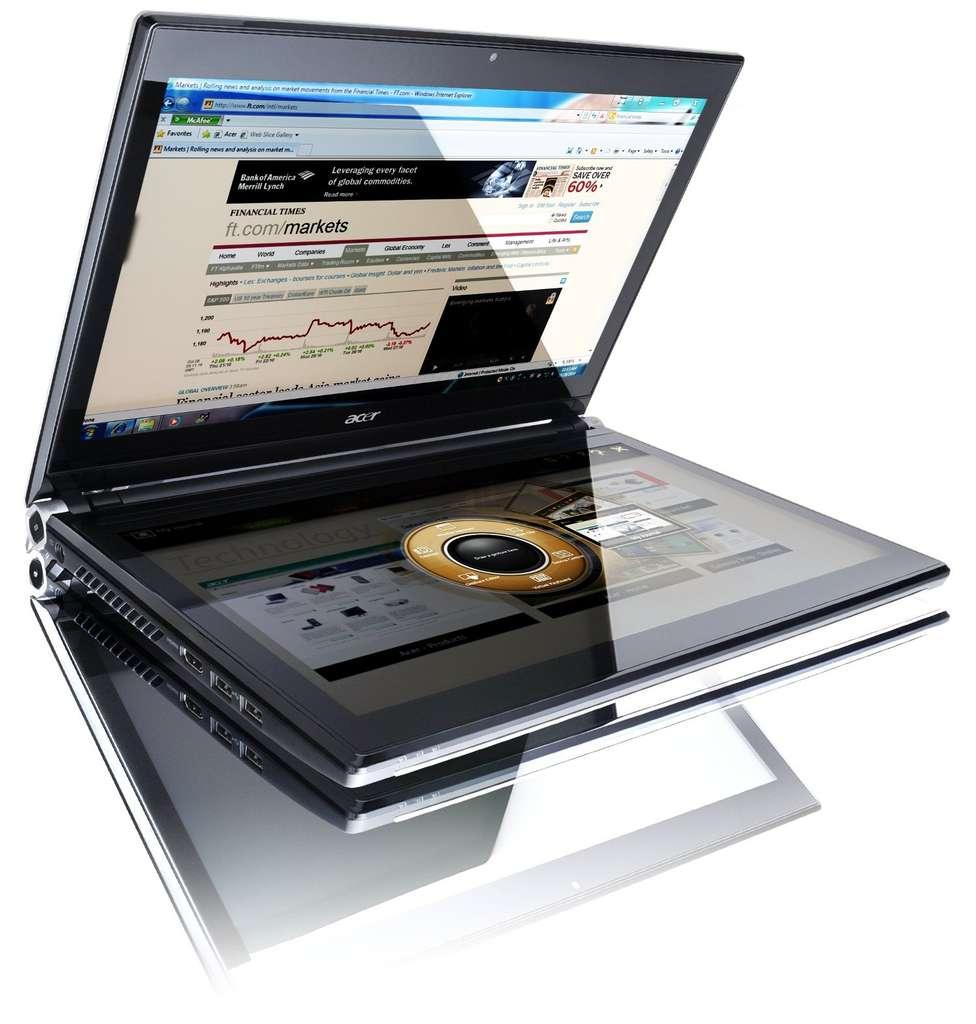 Posez une seule main sur l'écran horizontal et un disque de commande apparaît, commandant la navigation dans ou parmi les logiciels. © Acer