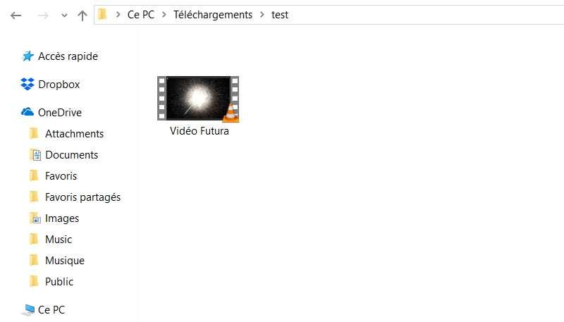 La vidéo apparaît maintenant dans le dossier que vous avez défini auparavant. © VideoLAN