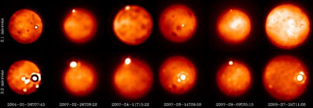 Observations de plusieurs éruptions depuis 2004 en utilisant le télescope Keck (mai 2004, août 2007, septembre 2007, juillet 2009), le télescope Gemini Nord de 8 m (août 2007) et le VLT de l'ESO (le Yepun de 8 m en février 2007). La signature thermique d'un outburst à Tvashtar peut être vue près du pôle nord sur les images collectées en 2007. Un autre outburst a été détecté dans la région de la patera Loki en juillet 2009, le dernier avant celui de 2013. © Franck Marchis