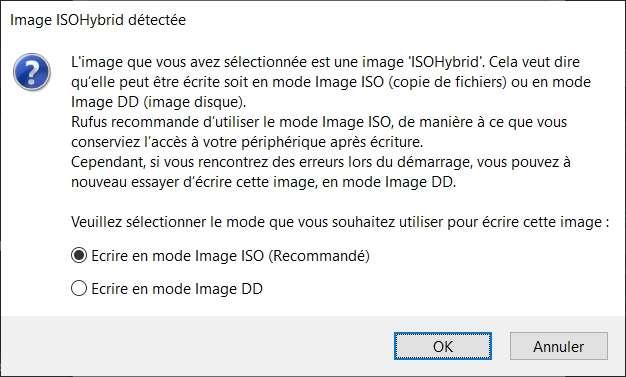 Fenêtre de confirmation du mode d'écriture de l'image disque. © Rufus