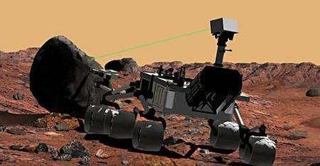 Le laser de MSL en action (vue d'artiste). Crédit Nasa