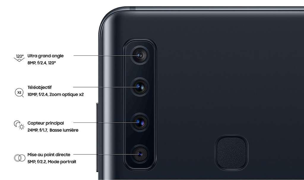 Le Samsung Galaxy A9 est le premier à disposer de quatre modules photos sur le dos. Chacun d'eux a ses spécificités. © Samsung