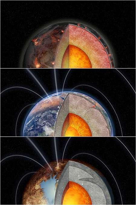 Sur cette illustration, la planète du milieu est une planète semblable à la Terre dans son abondance d'uranium et de thorium. En haut, une planète présentant plus d'éléments radioactifs. En bas, une planète géologiquement morte. © Melissa Weiss, Université de Californie