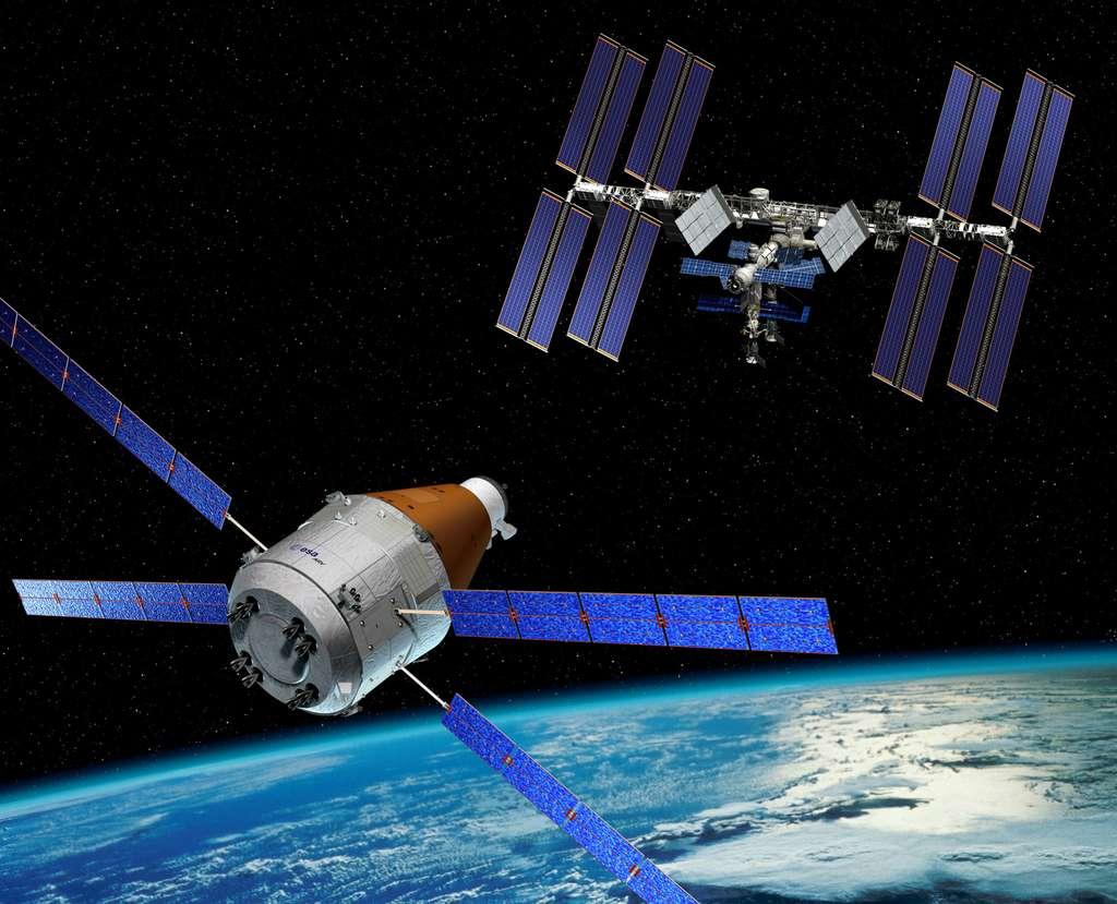 Projet européen de faire évoluer l'ATV. L'idée est de remplacer le module de fret de l'ATV par un module de rentrée servant à ramener sur Terre en toute sécurité des charges utiles et des expériences. © Esa/D. Ducros
