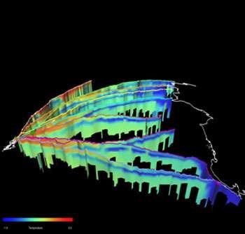 On peut voir ici la surface en Antarctique, avec des eaux de différentes températures (du plus froid en bleu au plus chaud en rouge). © DR