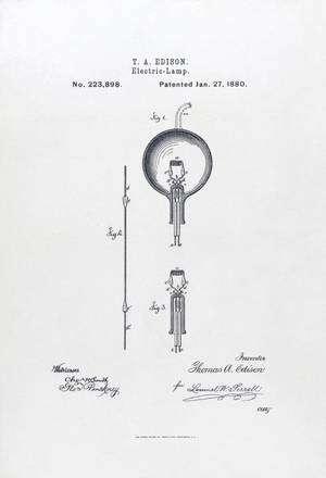 Le brevet de la lampe d'Edison, daté du 27 janvier 1880. Elle aura vécu plus de 130 ans... © Licence Commons