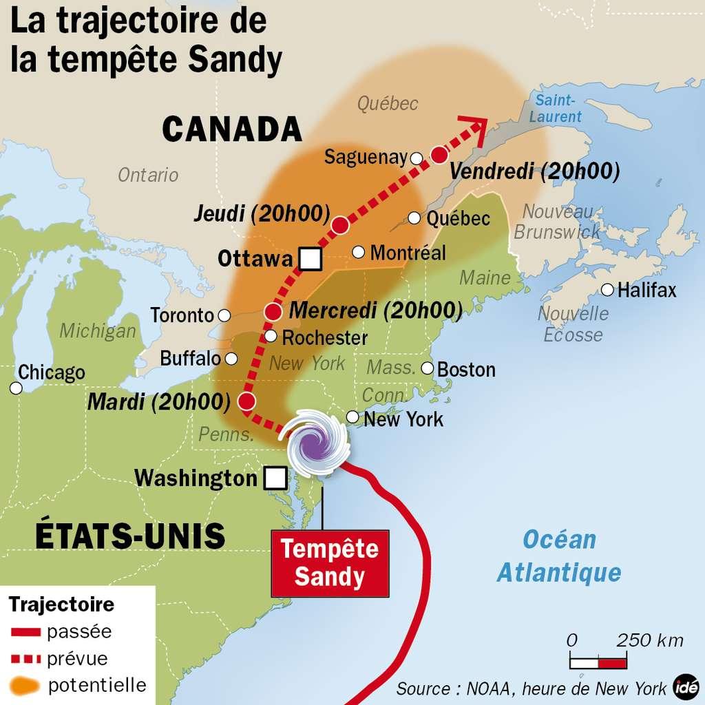 Sandy est classée comme tempête tropicale à présent. Elle s'affaiblira en continuant sa trajectoire vers le sud du Canada. © idé