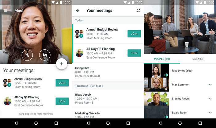 Hangouts Meet sur Android. © Google