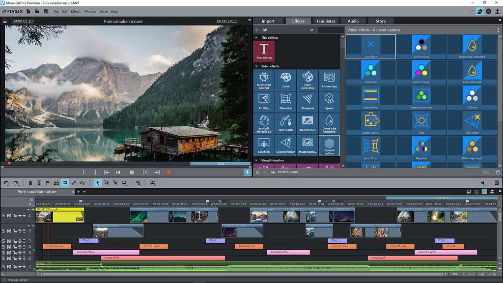 Ajoutez plus de 1.500 effets avec Magix Video deluxe en mode Timeline. © Magix Software Gmbh