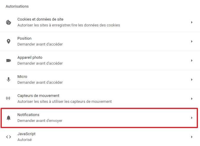 Cliquez sur « Notifications ». © Google Inc.